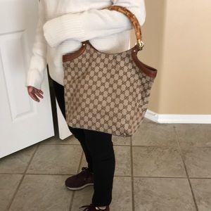 Gucci Bamboo bit canvas bag